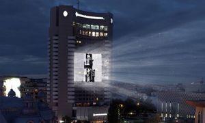 FILME SCURTE ale fraţilor Lumière, PROIECTATE pe fațada hotelului Intercontinental din București