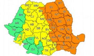Cod portocaliu și cod galben de PLOI ABUNDENTE și VIJELII în aproape toată țara, valabile până la noapte