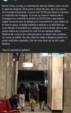 ALERTĂ în Capitală: un tânăr atacă femei la metrou