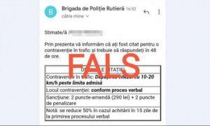 Poliția Română avertizează asupra unei înșelăciuni cu amenzi FALSE