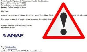 ANAF avertizează asupra unor mesaje FALSE în numele instituției